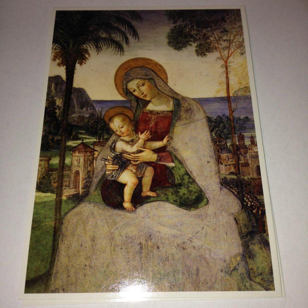 Spoleto Dom. Pinturicchio Madonna col Bambino della Cappella Eroli Bild aus der Postkarte, Spoleto Dom SCALA Firenze.